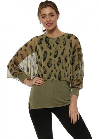 Amelia Olive Leopard Print Overlay Top