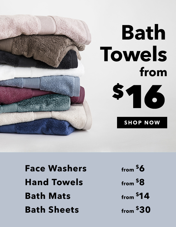 Bath towels from 16