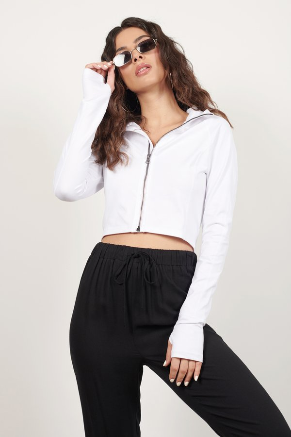 Exercise Or Not White Zip Up Jacket