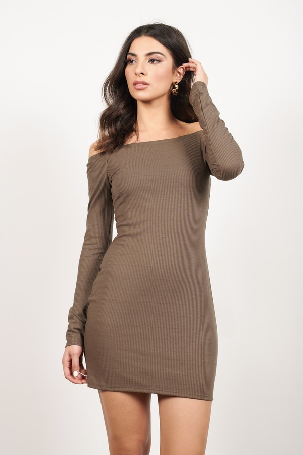 Off My Shoulder Taupe Bodycon Dress