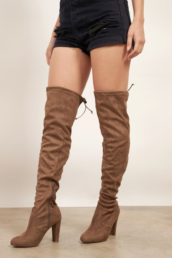 Amaya Taupe Suede Knee High Boots