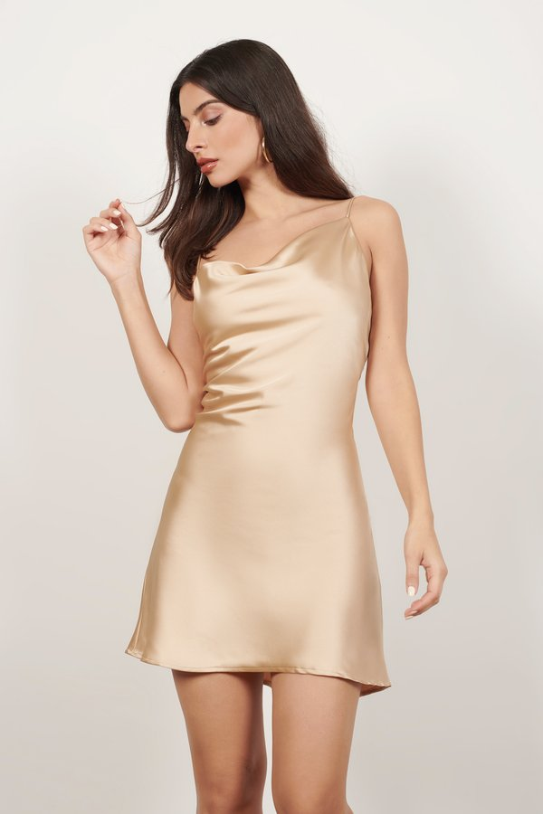 Pay Attention Champagne Satin Shift Dress