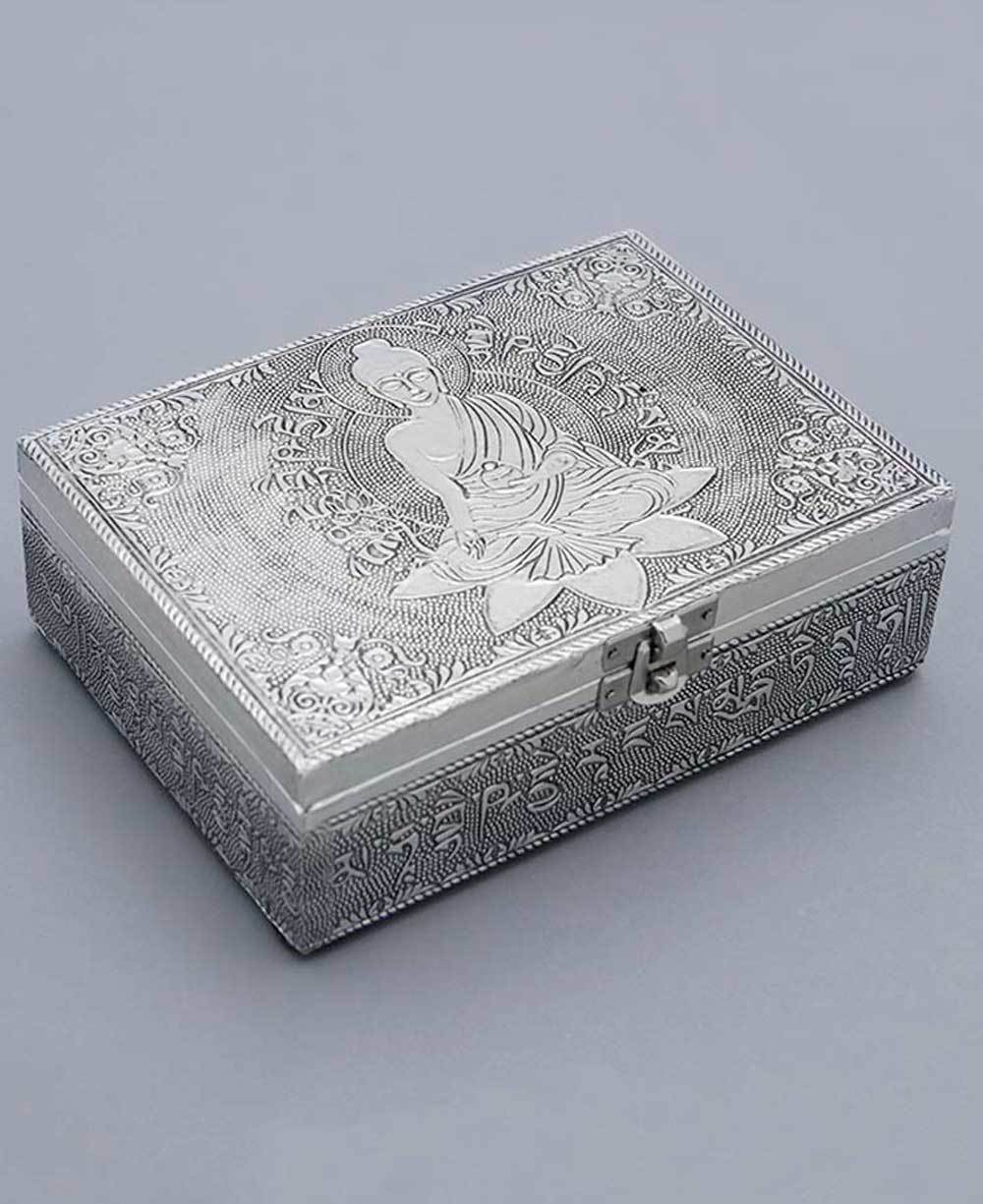 Image of Buddha Antique Style Mala Box with Tibetan Mantra