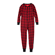 Hatley Little Blue House Red Buffalo Plaid Unisex Adult Union Suit