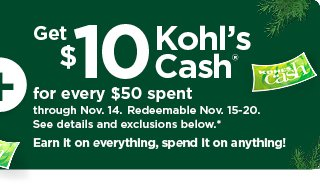 everyone gets $10 kohls cash for every $50 spent. shop now.