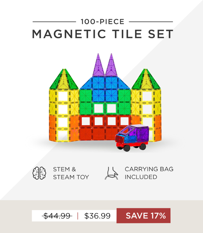 Save $17 on our 100-Piece Magnetic Tile Set