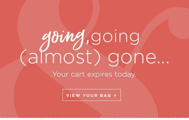 Going, going (almost) gone! Your cart expires today. View Your Bag »