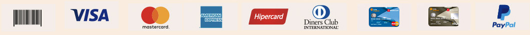 Boleto  |  Visa  |  Mastercard  |  American Express  |  Hipercard  | Dinners Club  | Cartão Angeloni  | PayPal