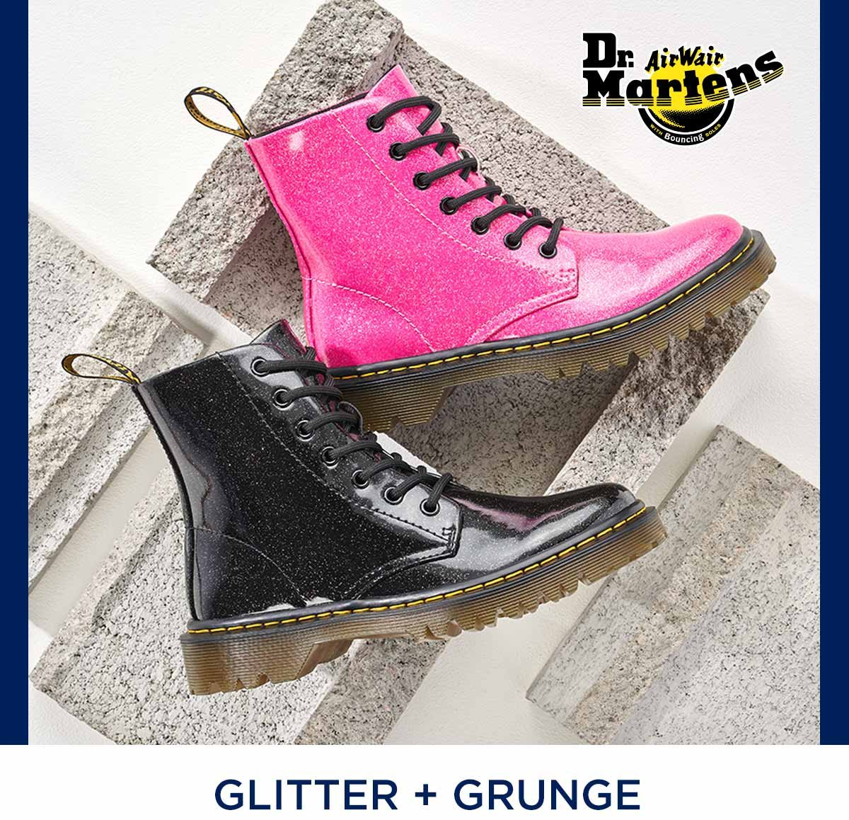 GLITTER + GRUNGE DR. MARTENS IN BLACK AND HOT PINK