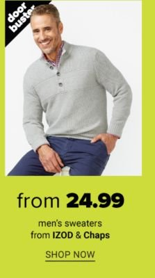 Doorbuster - Men's sweaters from IZOD & Chaps from $24.99. Shop Now.
