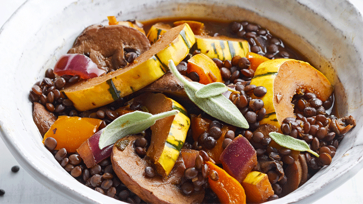 Sage Lentils with Squash and Mushrooms