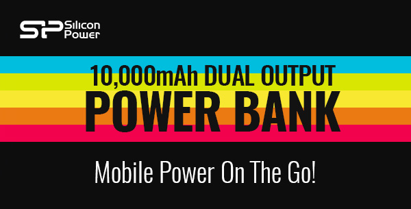 Mobile Power On The Go! - 10,000mAh Dual Output Power Bank - Just £12.49