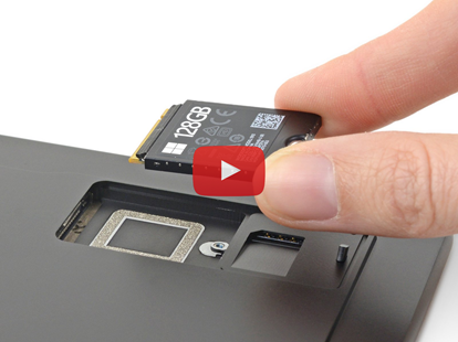 Surface Pro X SSD removal with play button