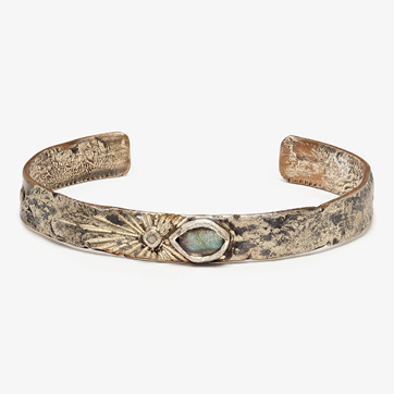 franny e one-of-a-kind narrow labradorite & diamond cuff bracelet