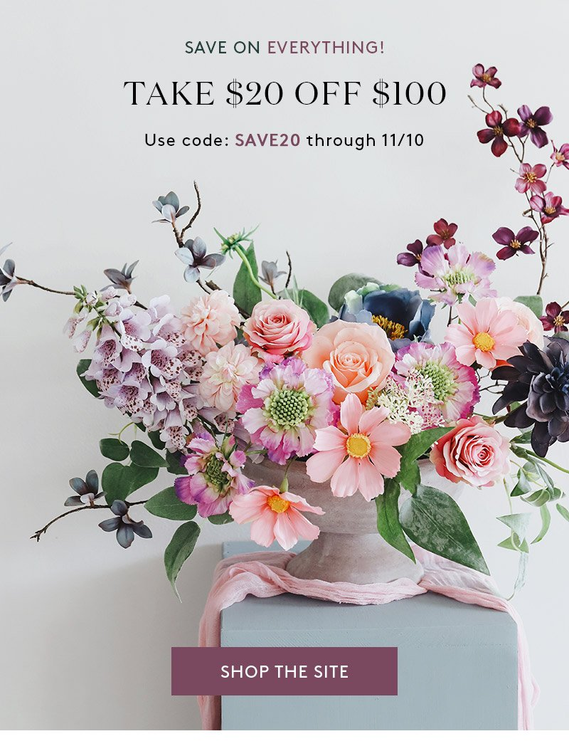 Artificial Flowers, Save $20 off every order over $100