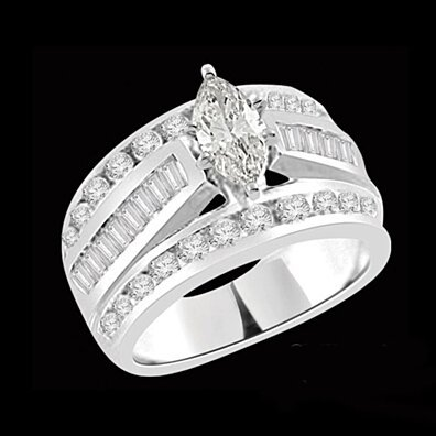 3.00ct D/VVS1 Round & Marquise Engagement Ring 18K White Gold Finish # With Free Stud Earring