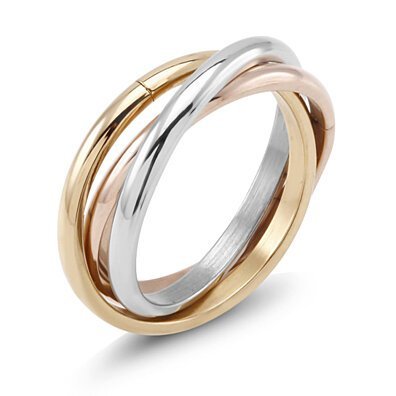 Tri-Color Gold-Plated Rings Set
