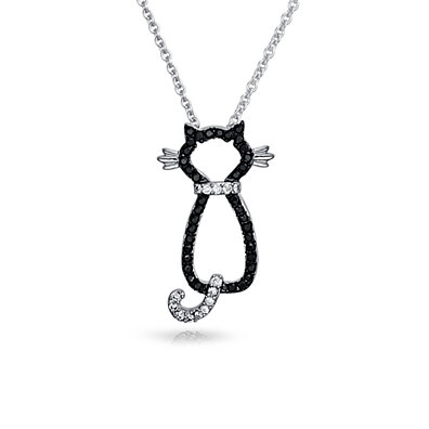 Black CZ Cutout Sitting Cat Necklace 18in Rhodium Plated Brass