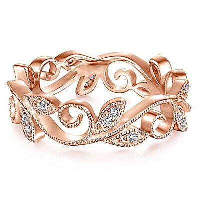 Creative rattan leaf women's zircon ring