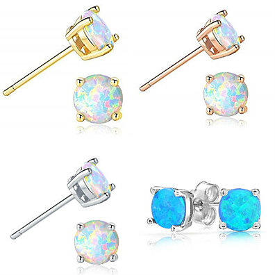 Opal Stud Earrings Sterling Silver Fire Opal 925 Jewelry Round Opal Earrings