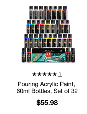 Pouring Acrylic Paint, 60ml Bottles - Set of 32