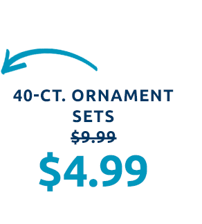 40-ct. ornament sets for $4.99. 6 styles to choose from.