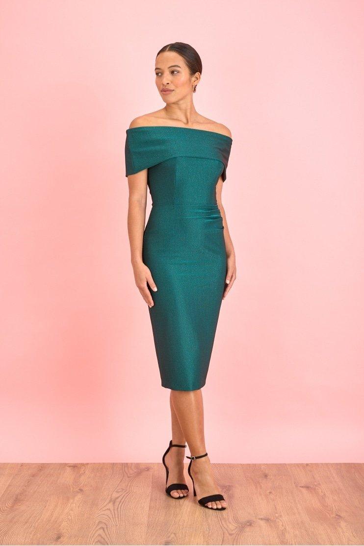 Dani Bardot Lurex Rib Pencil Dress