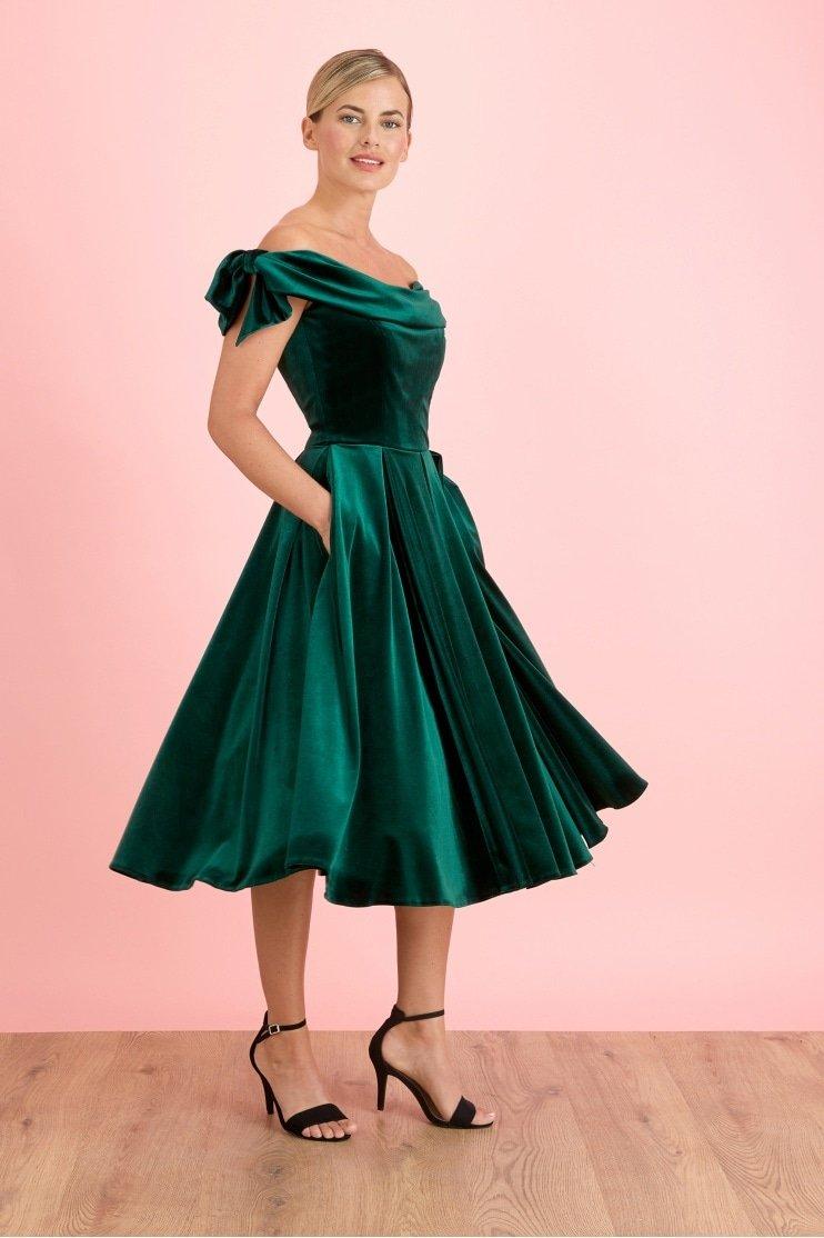 Tilly Velvet Off The Shoulder Bow Prom Dress