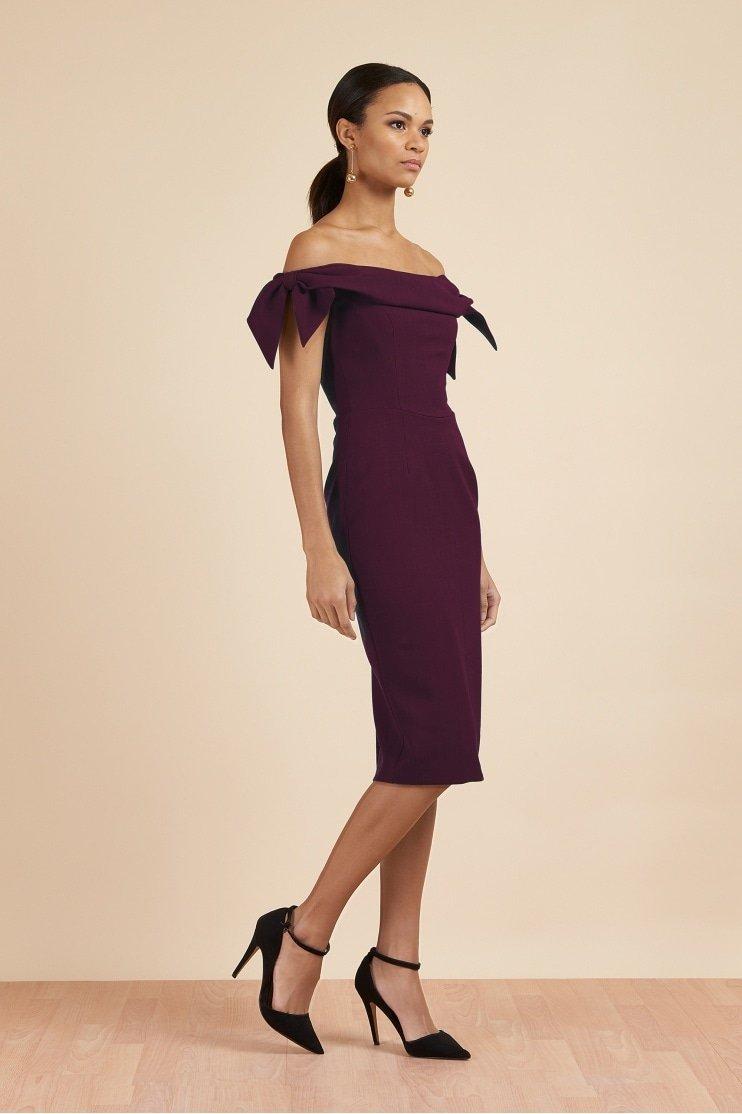 Tilly Off The Shoulder Bow Pencil Dress