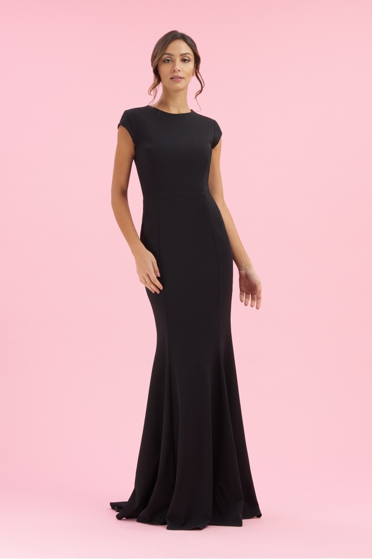 Moritz French Crepe Cap Sleeve Gown