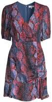 Soliana Snakeskin Print Ruched Dress