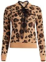 Polka Dot Tie Neck Leopard Print Sweater