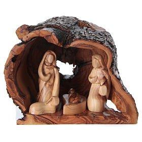 Heilige Familie in Grotte Olivenholz Bethlehem 15x20x15cm euro 99,00