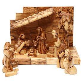 Geburt Christi in einem Stall, mit Komet und Palme, aus Olivenholz in Bethlehem gefertigt, 15 cm euro 129,00