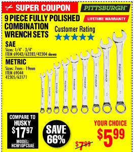 View Fully Polished SAE Combination Wrench Set, 9 Pc.