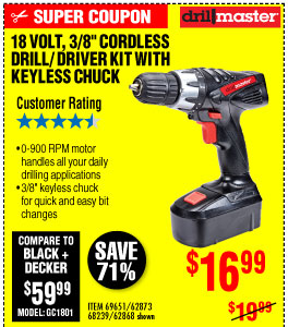 View18 Volt 3/8 in. Cordless Drill/Driver Kit With Keyless Chuck, 21 Clutch Settings