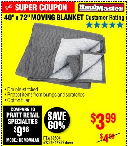 View 40 in. x 72 in. Moving Blanket