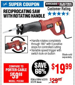 View 6 Amp Heavy Duty Variable Speed Rotating Handle Reciprocating Saw