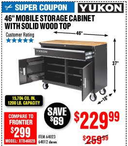 View 46 in. Mobile Storage Cabinet with Wood Top