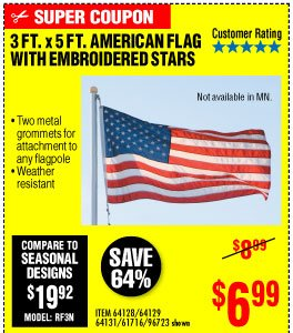 View 3 Ft. x 5 Ft. American Flag with Embroidered Stars