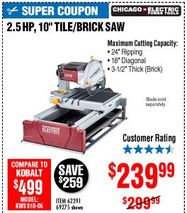 View 10 in. 2.5 HP Tile/Brick Saw
