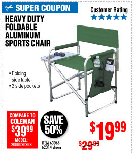 View Foldable Aluminum Sports Chair - Green