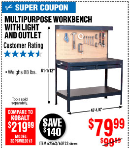 View 48 In. Workbench with Light