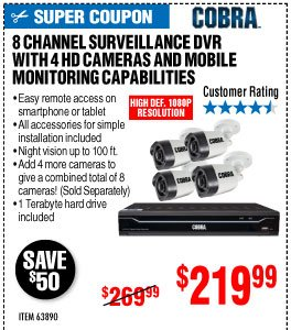 View 8 Channel Surveillance DVR with 4 HD Cameras and Mobile Monitoring Capabilities