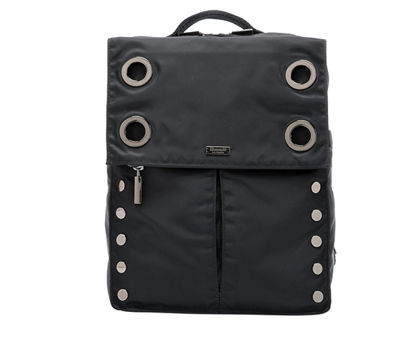 Shop Montana Backpack LRG in Black Nylon/Black Cotton/Gunmetal