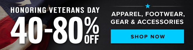 Veterans Day Sale - 40-80% Off - Shop Now