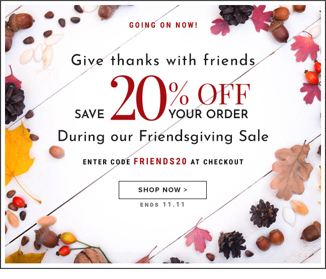 20% Off Your Order During Our Friendsgiving Sale