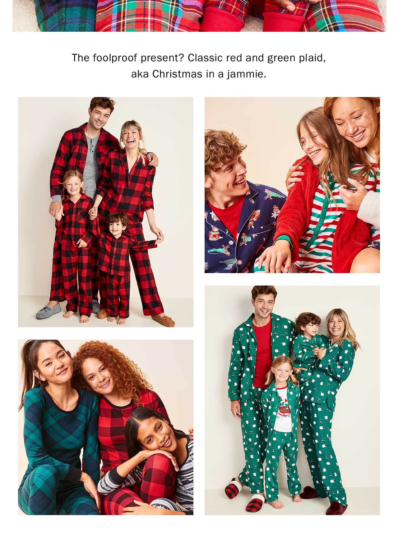The foolproof present? Classic red and green plaid, aka Christmas in a jammie.