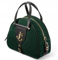 Jimmy Choo Green Suede & Vacchetta Leather Varenne Bowling Bag