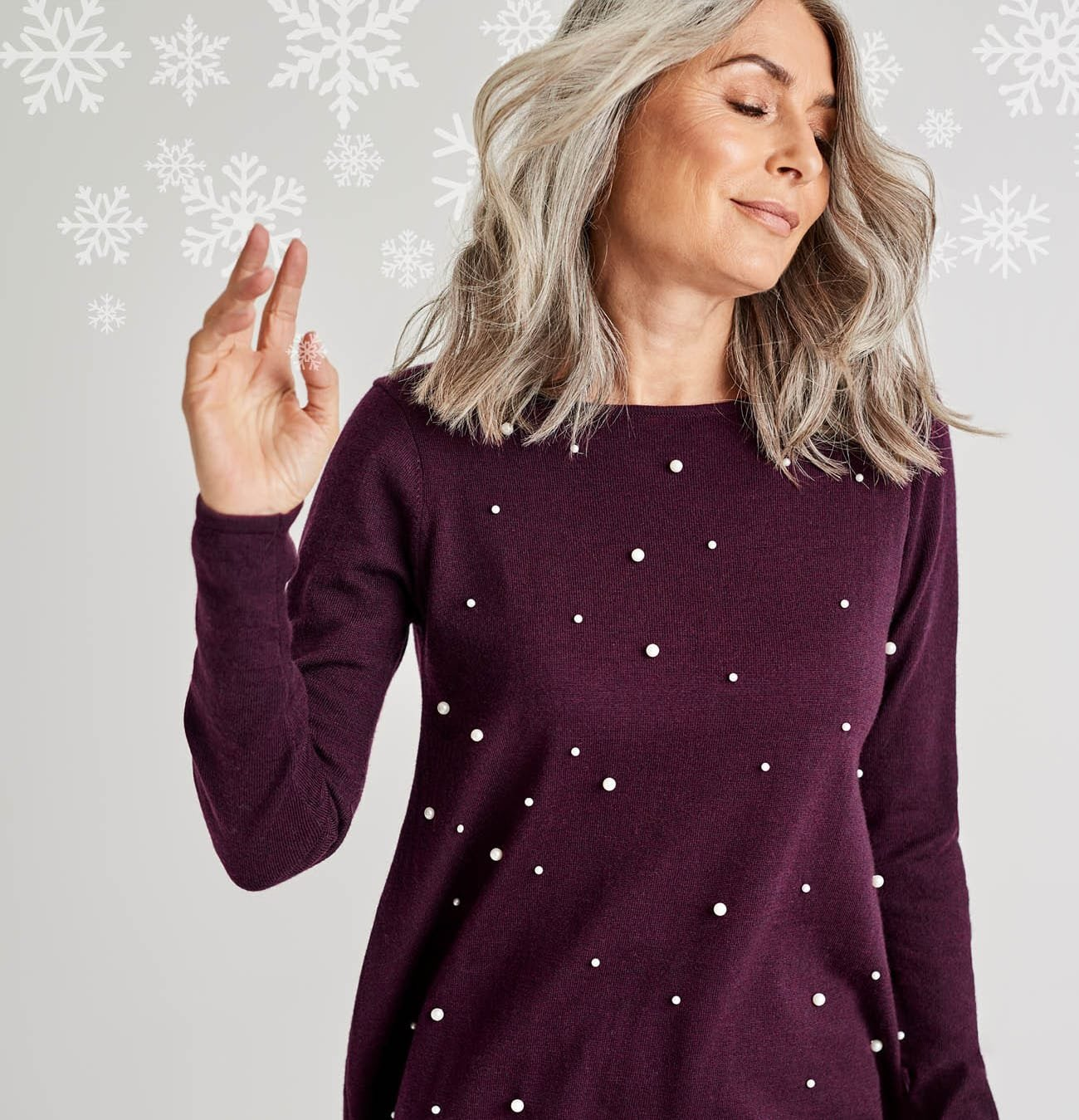 Womens Pearl Front Trapeze Jumper in Dark Aubergine